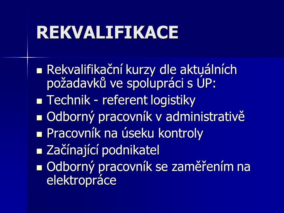 REKVALIFIKACE Rekvalifikační kurzy dle aktuálních požadavků ve spolupráci s ÚP: Rekvalifikační kurzy dle aktuálních požadavků ve spolupráci s ÚP: Technik - referent logistiky Technik - referent logistiky Odborný pracovník v administrativě Odborný pracovník v administrativě Pracovník na úseku kontroly Pracovník na úseku kontroly Začínající podnikatel Začínající podnikatel Odborný pracovník se zaměřením na elektropráce Odborný pracovník se zaměřením na elektropráce