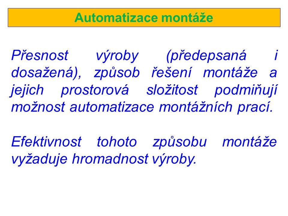 Automatizace montáže Přesnost výroby (předepsaná i dosažená), způsob řešení montáže a jejich prostorová složitost podmiňují možnost automatizace montážních prací.