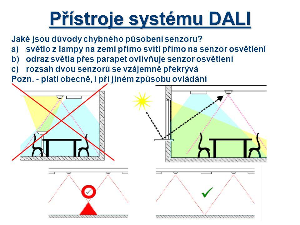 Přístroje systému DALI Jaké jsou důvody chybného působení senzoru? a)světlo z lampy na zemi přímo svítí přímo na senzor osvětlení b)odraz světla přes