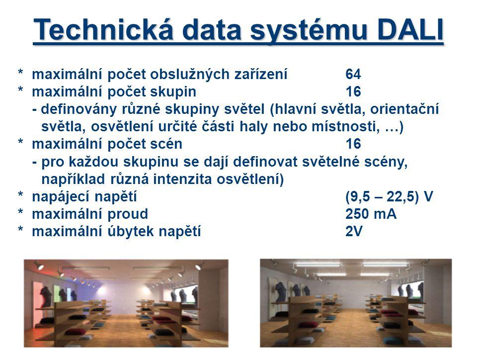 Přístroje systému DALI *zdroj pro napájení sběrnice příklad: DALI PS1 (200mA) *ovládání skupin (DALI GC) – pro ovládání dvou nezávislých skupin (zapnout, vypnout, stmívat) -nastavení skupin pomocí přepínače (vše, skupina 1, 2, …) -ovládání – nejčastěji pomocí dvou dvojtlačítek nebo tlačítek