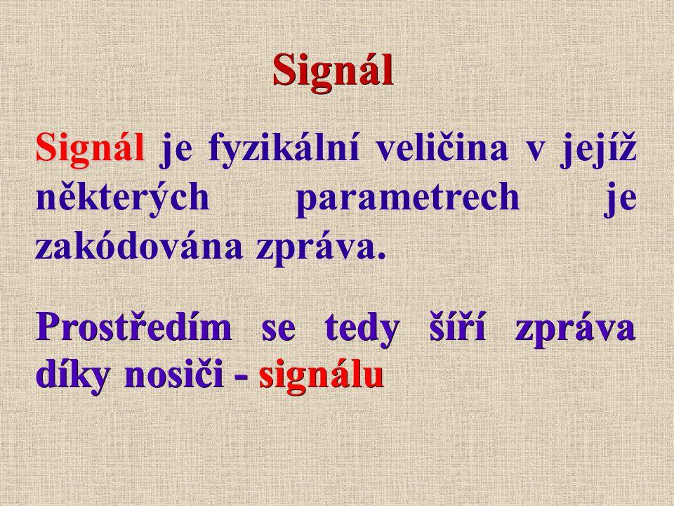 Signál Prostředím se tedy šíří zpráva díky nosiči - signálu Signál Signál je fyzikální veličina v jejíž některých parametrech je zakódována zpráva.