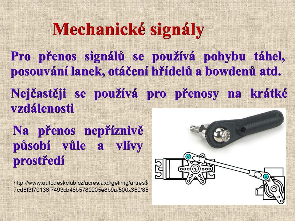Mechanické signály Pro přenos signálů se používá pohybu táhel, posouvání lanek, otáčení hřídelů a bowdenů atd.