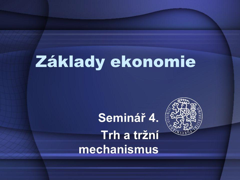 Základy ekonomie Seminář 4. Trh a tržní mechanismus