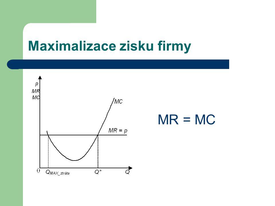 Maximalizace zisku firmy MR = MC