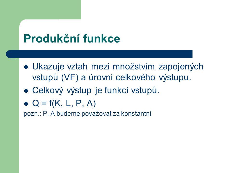 Produkční funkce Ukazuje vztah mezi množstvím zapojených vstupů (VF) a úrovni celkového výstupu.