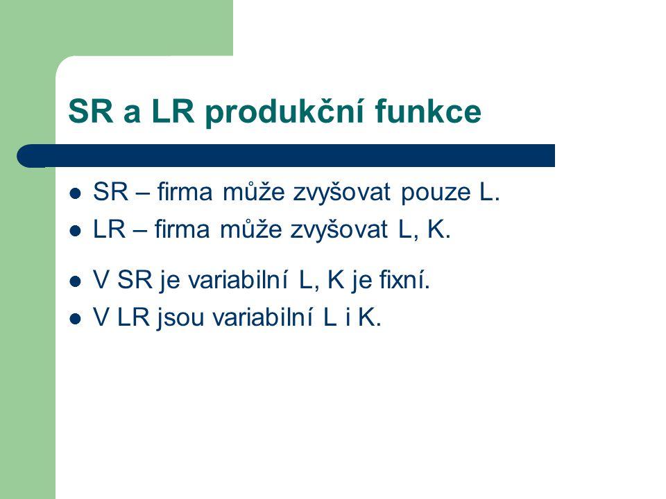 SR a LR produkční funkce SR – firma může zvyšovat pouze L.