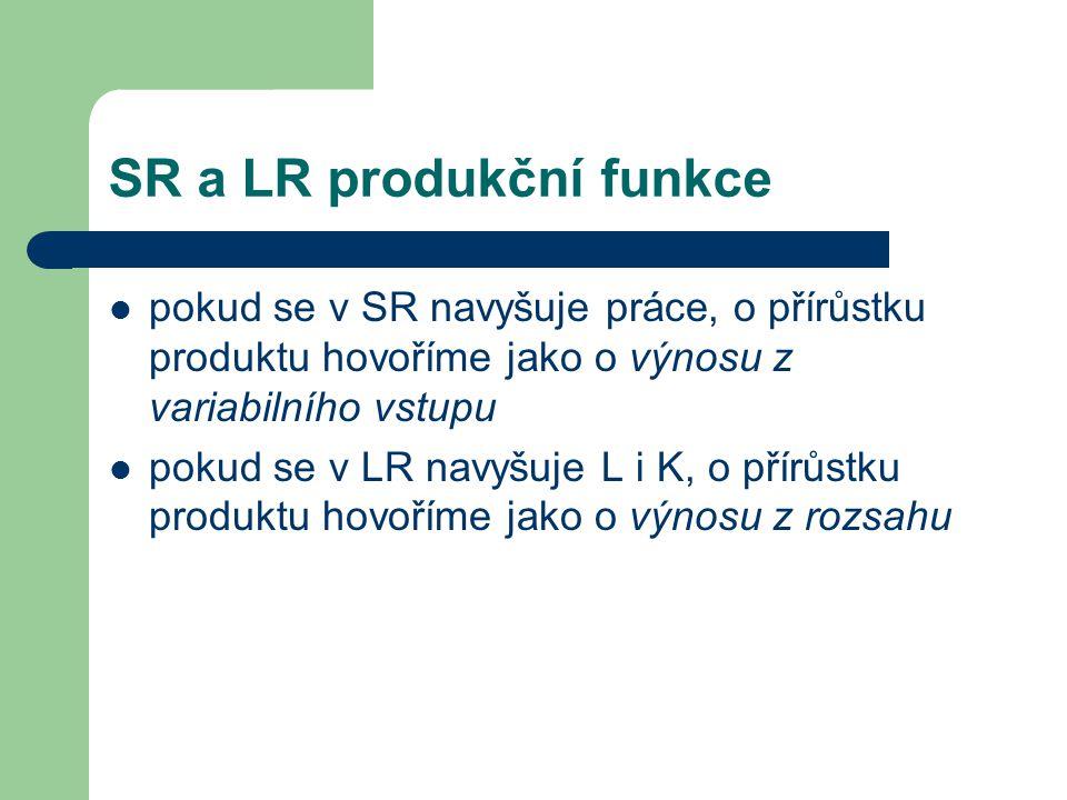 SR a LR produkční funkce pokud se v SR navyšuje práce, o přírůstku produktu hovoříme jako o výnosu z variabilního vstupu pokud se v LR navyšuje L i K, o přírůstku produktu hovoříme jako o výnosu z rozsahu
