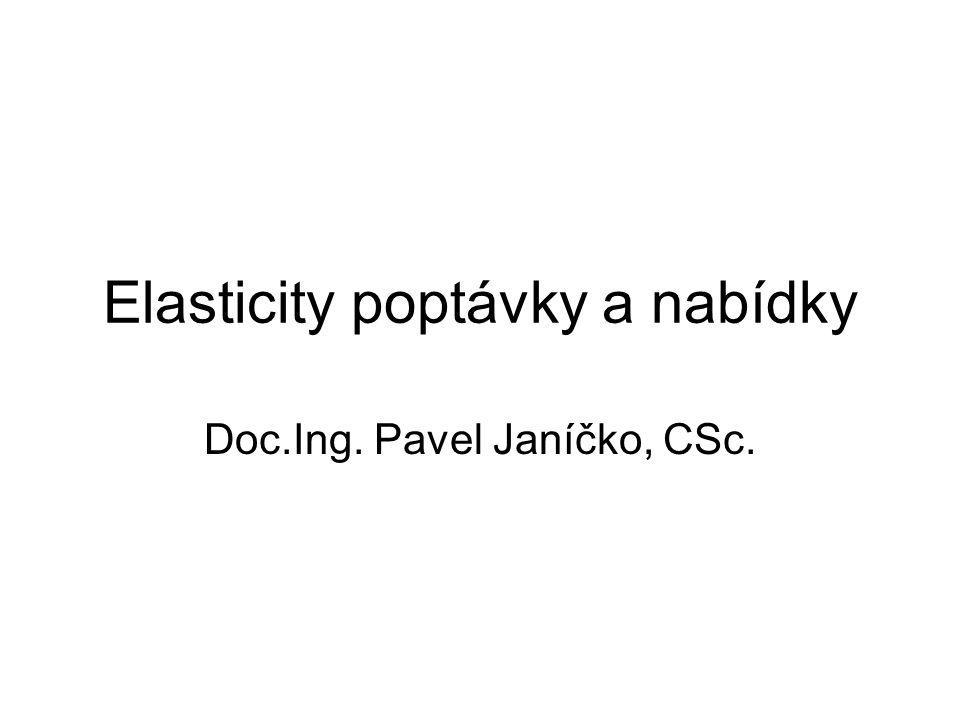 Elasticity poptávky a nabídky Doc.Ing. Pavel Janíčko, CSc.