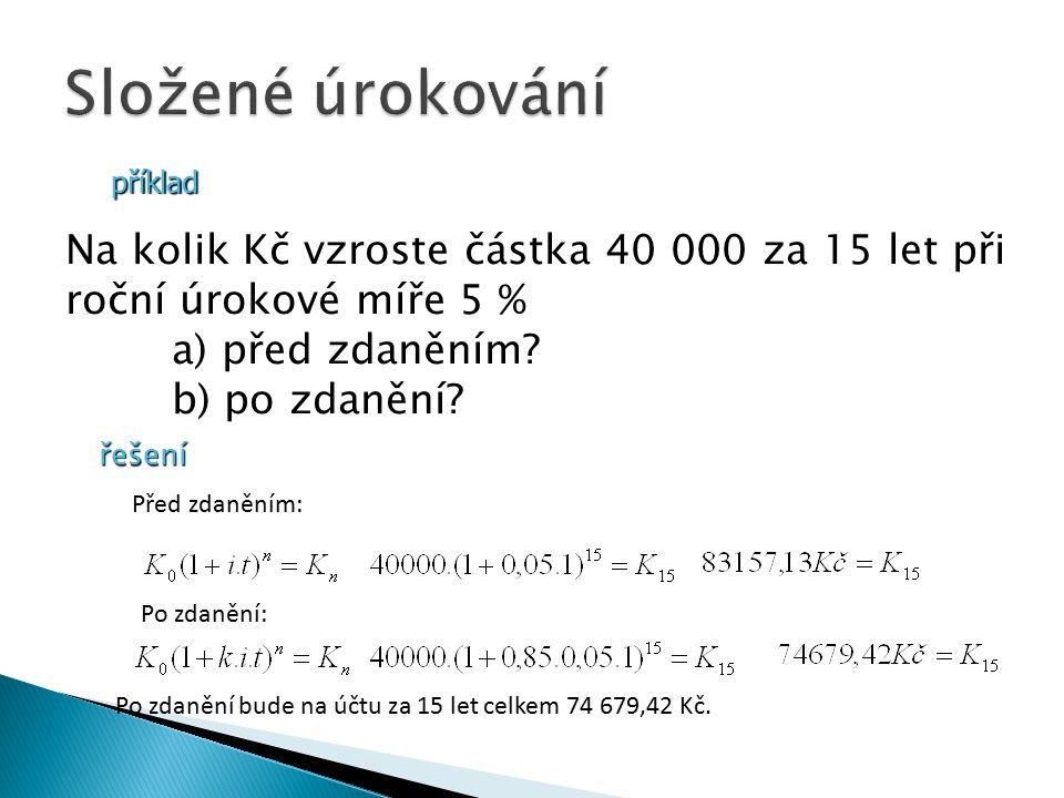 příklad Na kolik Kč vzroste částka 40 000 za 15 let při roční úrokové míře 5 % a) před zdaněním.