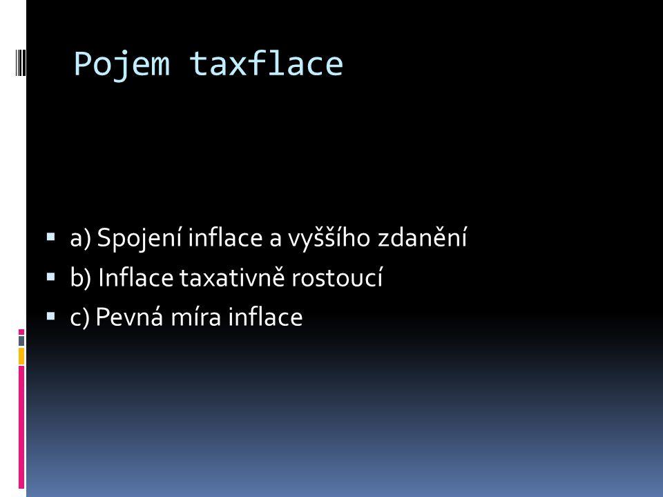 Pojem taxflace aa) Spojení inflace a vyššího zdanění bb) Inflace taxativně rostoucí cc) Pevná míra inflace