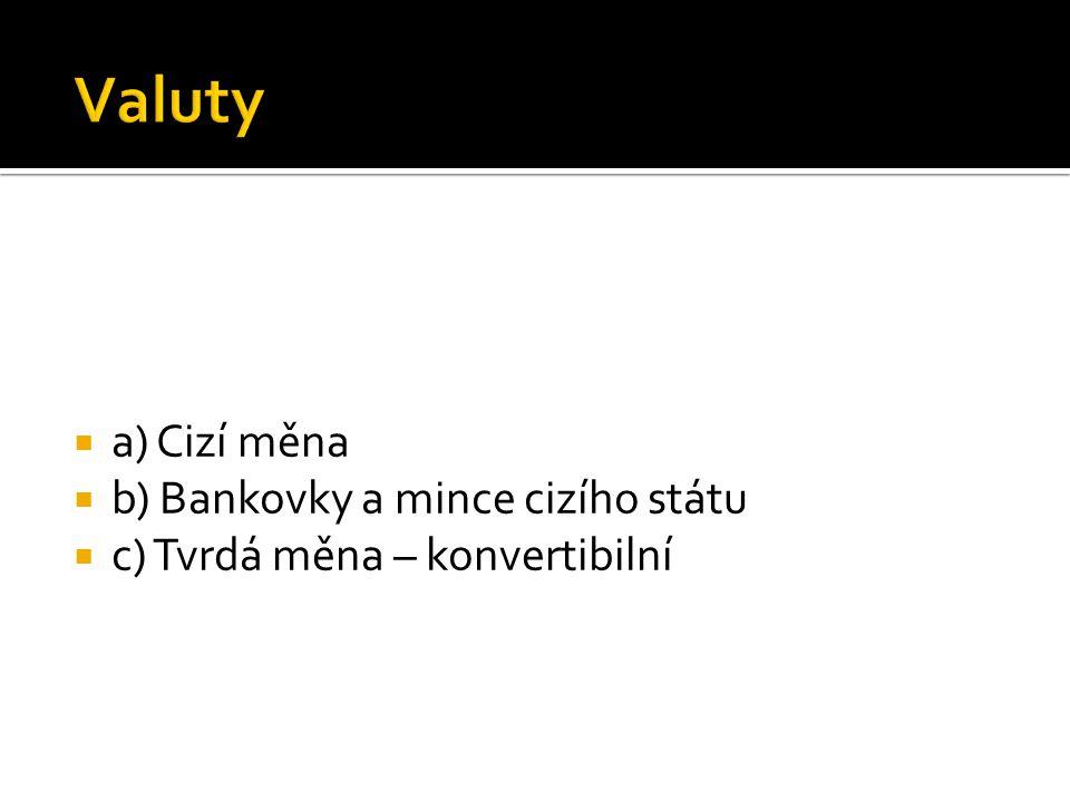 aa) Cizí měna bb) Bankovky a mince cizího státu cc) Tvrdá měna – konvertibilní