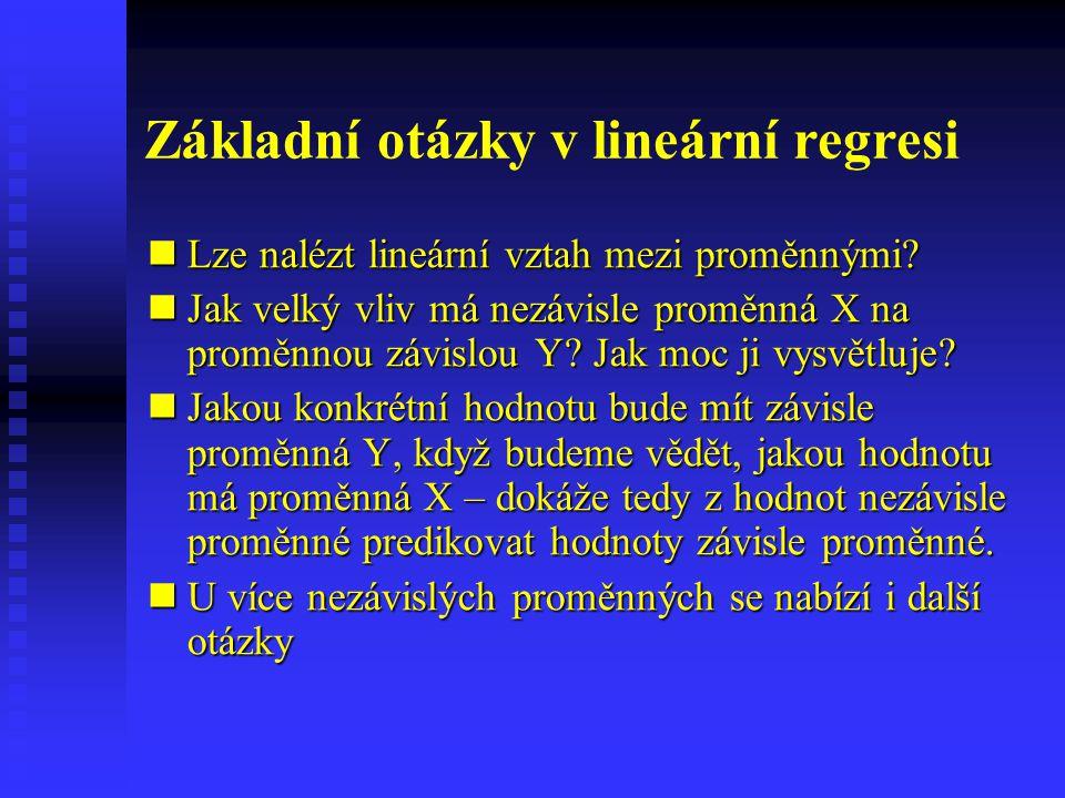 Základní otázky v lineární regresi Lze nalézt lineární vztah mezi proměnnými? Lze nalézt lineární vztah mezi proměnnými? Jak velký vliv má nezávisle p