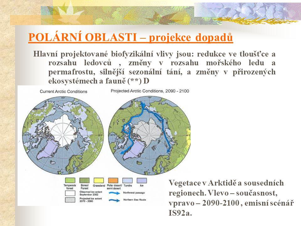 POLÁRNÍ OBLASTI – projekce dopadů Hlavní projektované biofyzikální vlivy jsou: redukce ve tloušťce a rozsahu ledovců, změny v rozsahu mořského ledu a permafrostu, silnější sezonální tání, a změny v přirozených ekosystémech a fauně (**) D Vegetace v Arktidě a sousedních regionech.