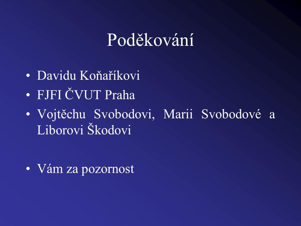 Poděkování Davidu Koňaříkovi FJFI ČVUT Praha Vojtěchu Svobodovi, Marii Svobodové a Liborovi Škodovi Vám za pozornost