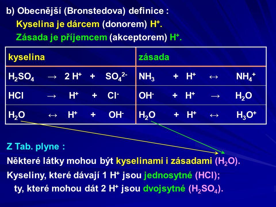 b) Obecnější (Bronstedova) definice : Kyselina je dárcem (donorem) H +. Zásada je příjemcem (akceptorem) H +. kyselinazásada H 2 SO 4 → 2 H + + SO 4 2
