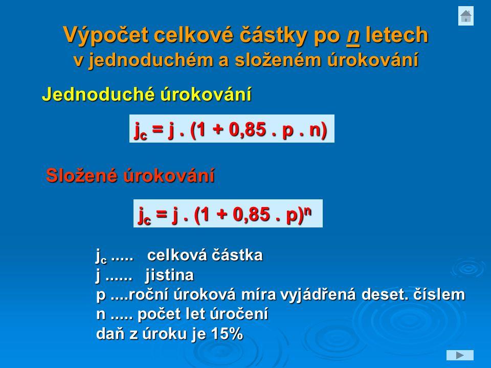 Výpočet celkové částky po n letech v jednoduchém a složeném úrokování j c = j. (1 + 0,85. p) n j c = j. (1 + 0,85. p. n) j c..... celková částka j....