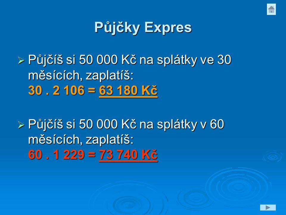 Půjčky Expres  Půjčíš si 50 000 Kč na splátky ve 30 měsících, zaplatíš: 30. 2 106 = 63 180 Kč  Půjčíš si 50 000 Kč na splátky v 60 měsících, zaplatí