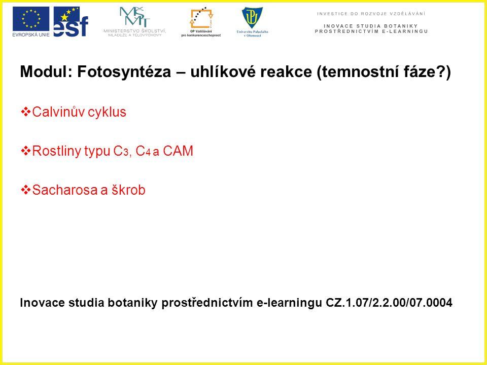 Modul: Fotosyntéza – uhlíkové reakce (temnostní fáze?)  Calvinův cyklus  Rostliny typu C 3, C 4 a CAM  Sacharosa a škrob Inovace studia botaniky pr