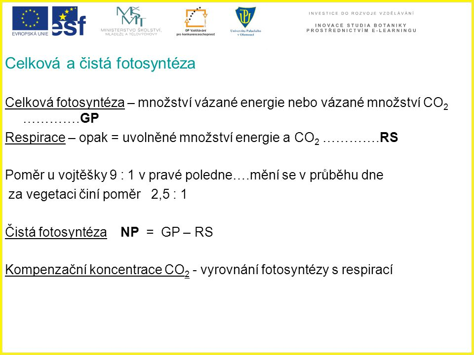 Celková a čistá fotosyntéza Celková fotosyntéza – množství vázané energie nebo vázané množství CO 2 ………….GP Respirace – opak = uvolněné množství energ