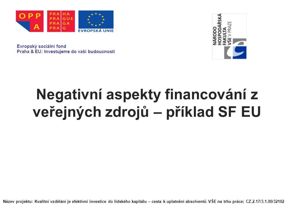Negativní aspekty financování z veřejných zdrojů – příklad SF EU Evropský sociální fond Praha & EU: Investujeme do vaší budoucnosti Název projektu: Kvalitní vzdělání je efektivní investice do lidského kapitálu – cesta k uplatnění absolventů VŠE na trhu práce; CZ.2.17/3.1.00/32102