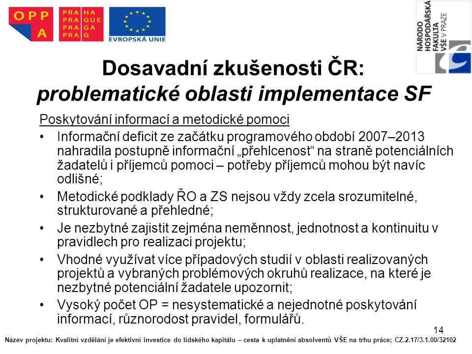 14 Dosavadní zkušenosti ČR: problematické oblasti implementace SF Poskytování informací a metodické pomoci Informační deficit ze začátku programového