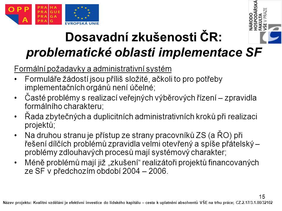 15 Dosavadní zkušenosti ČR: problematické oblasti implementace SF Formální požadavky a administrativní systém Formuláře žádostí jsou příliš složité, a