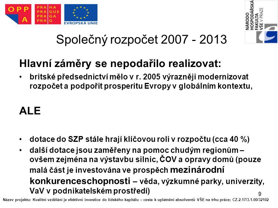 9 Společný rozpočet 2007 - 2013 Hlavní záměry se nepodařilo realizovat: britské předsednictví mělo v r.