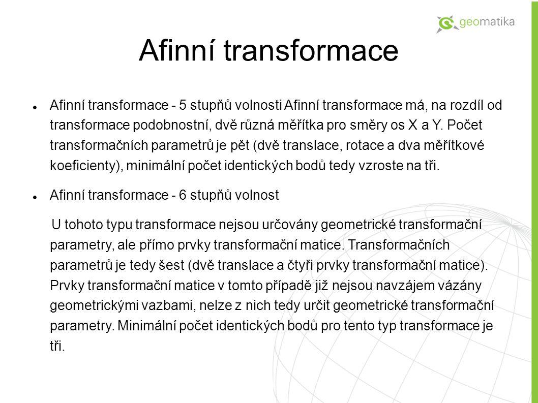 Afinní transformace - 5 stupňů volnosti Afinní transformace má, na rozdíl od transformace podobnostní, dvě různá měřítka pro směry os X a Y. Počet tra
