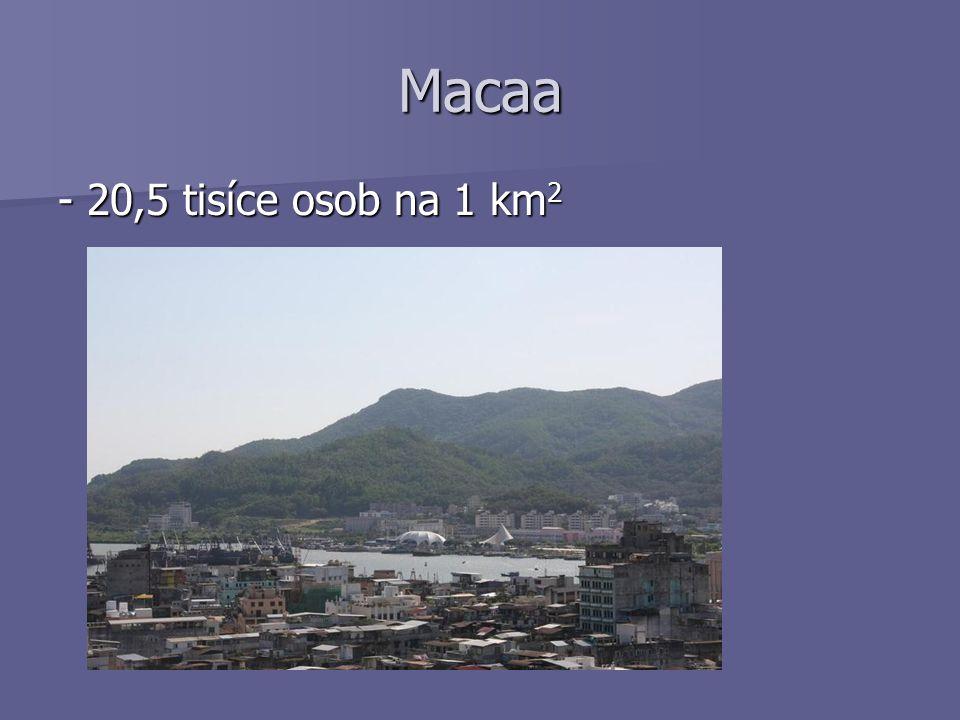 Macaa - 20,5 tisíce osob na 1 km 2