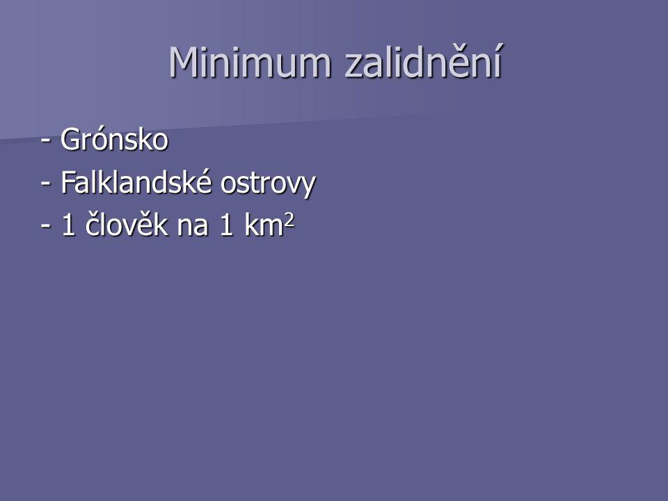 Minimum zalidnění - Grónsko - Falklandské ostrovy - 1 člověk na 1 km 2