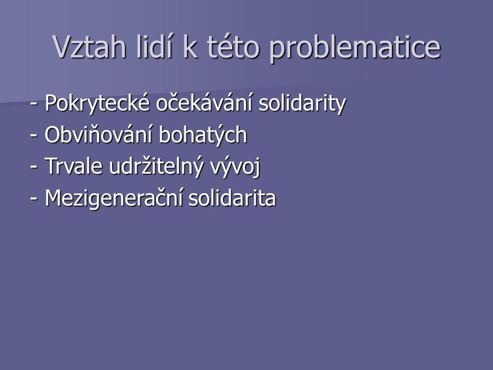 Vztah lidí k této problematice - Pokrytecké očekávání solidarity - Obviňování bohatých - Trvale udržitelný vývoj - Mezigenerační solidarita