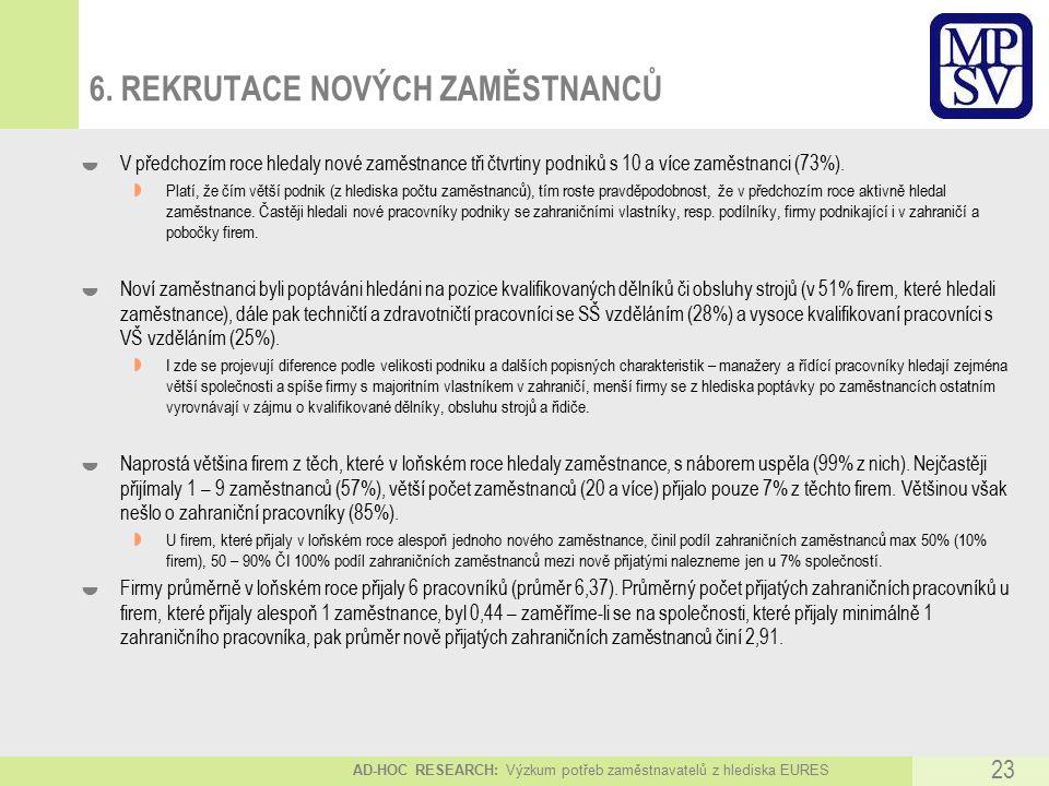 AD-HOC RESEARCH: Výzkum potřeb zaměstnavatelů z hlediska EURES 23 6.