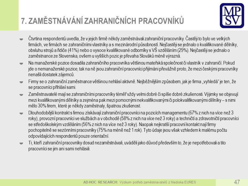 AD-HOC RESEARCH: Výzkum potřeb zaměstnavatelů z hlediska EURES 47 7.