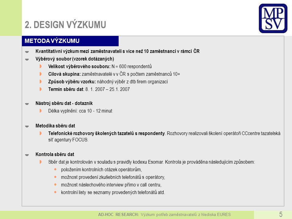 AD-HOC RESEARCH: Výzkum potřeb zaměstnavatelů z hlediska EURES 5 2.