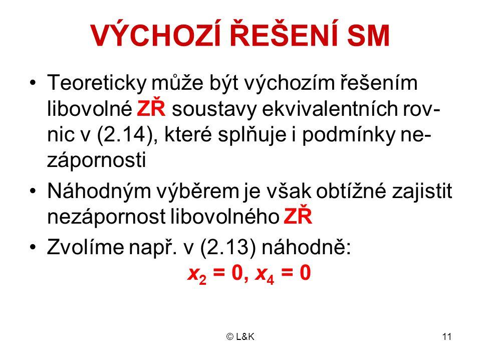 © L&K11 VÝCHOZÍ ŘEŠENÍ SM Teoreticky může být výchozím řešením libovolné ZŘ soustavy ekvivalentních rov- nic v (2.14), které splňuje i podmínky ne- zápornosti Náhodným výběrem je však obtížné zajistit nezápornost libovolného ZŘ Zvolíme např.