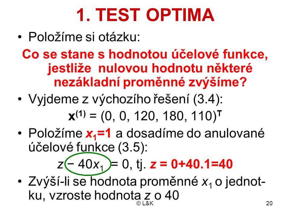 © L&K20 1. TEST OPTIMA Položíme si otázku: Co se stane s hodnotou účelové funkce, jestliže nulovou hodnotu některé nezákladní proměnné zvýšíme? Vyjdem