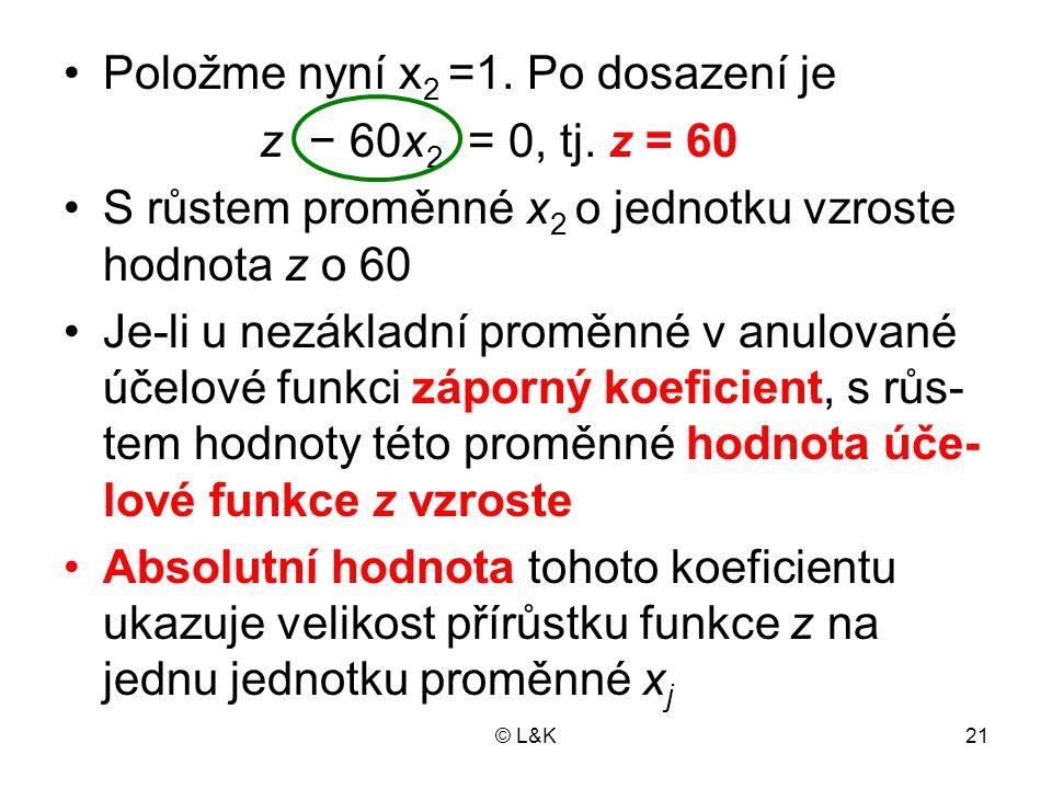 © L&K21 Položme nyní x 2 =1. Po dosazení je z − 60x 2 = 0, tj. z = 60 S růstem proměnné x 2 o jednotku vzroste hodnota z o 60 Je-li u nezákladní promě