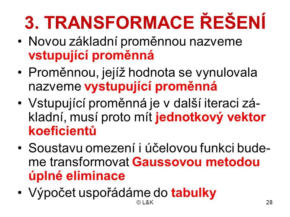 © L&K28 3. TRANSFORMACE ŘEŠENÍ Novou základní proměnnou nazveme vstupující proměnná Proměnnou, jejíž hodnota se vynulovala nazveme vystupující proměnn