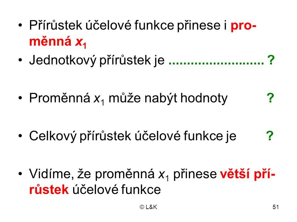 © L&K51 Přírůstek účelové funkce přinese i pro- měnná x 1 Jednotkový přírůstek je..........................
