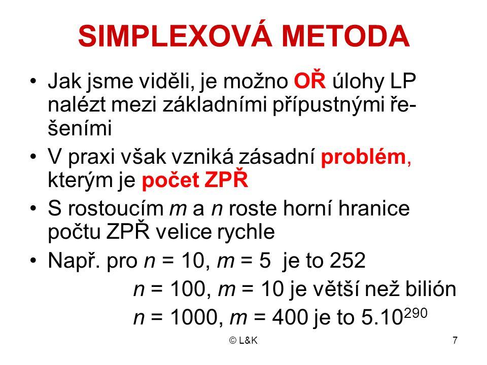 © L&K18 Čtvrtou základní proměnnou je zde z Má zvláštní postavení, zůstává základní proměnnou po celou dobu výpočtu Výchozí hodnota účelové funkce je z (1) = 0 Výchozí řešení můžeme zapsat včetně této hodnoty: x (1) = (0, 0, 120, 180, 110, 0) Grafickým znázorněním výchozího řešení je bod se souřadnicemi [0,0], tj.