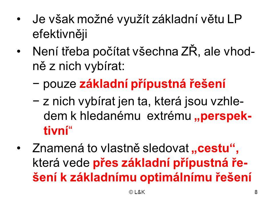 © L&K8 Je však možné využít základní větu LP efektivněji Není třeba počítat všechna ZŘ, ale vhod- ně z nich vybírat: − pouze základní přípustná řešení