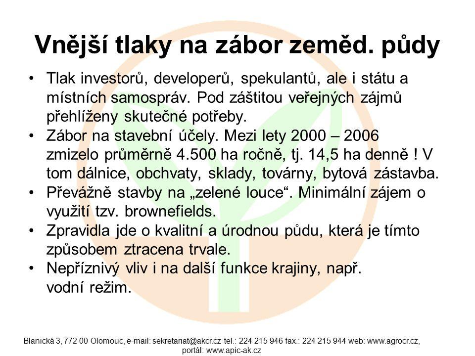 Blanická 3, 772 00 Olomouc, e-mail: sekretariat@akcr.cz tel.: 224 215 946 fax.: 224 215 944 web: www.agrocr.cz, portál: www.apic-ak.cz Vnější tlaky na
