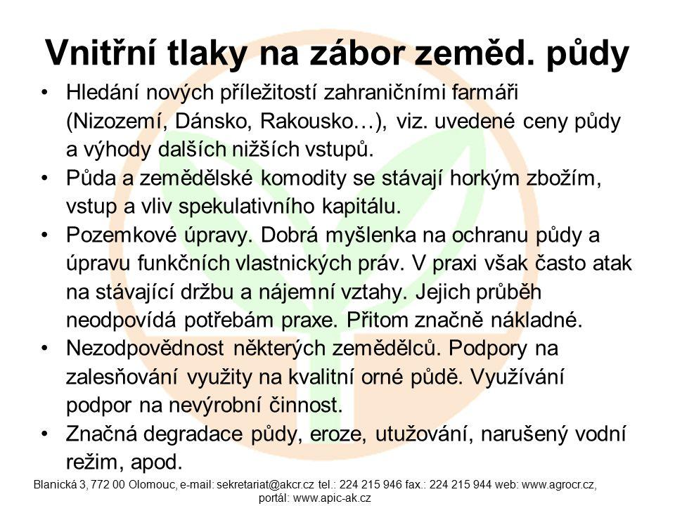 Blanická 3, 772 00 Olomouc, e-mail: sekretariat@akcr.cz tel.: 224 215 946 fax.: 224 215 944 web: www.agrocr.cz, portál: www.apic-ak.cz Vnitřní tlaky na zábor zeměd.