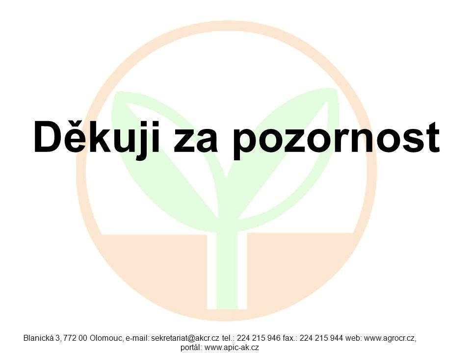 Blanická 3, 772 00 Olomouc, e-mail: sekretariat@akcr.cz tel.: 224 215 946 fax.: 224 215 944 web: www.agrocr.cz, portál: www.apic-ak.cz Děkuji za pozornost