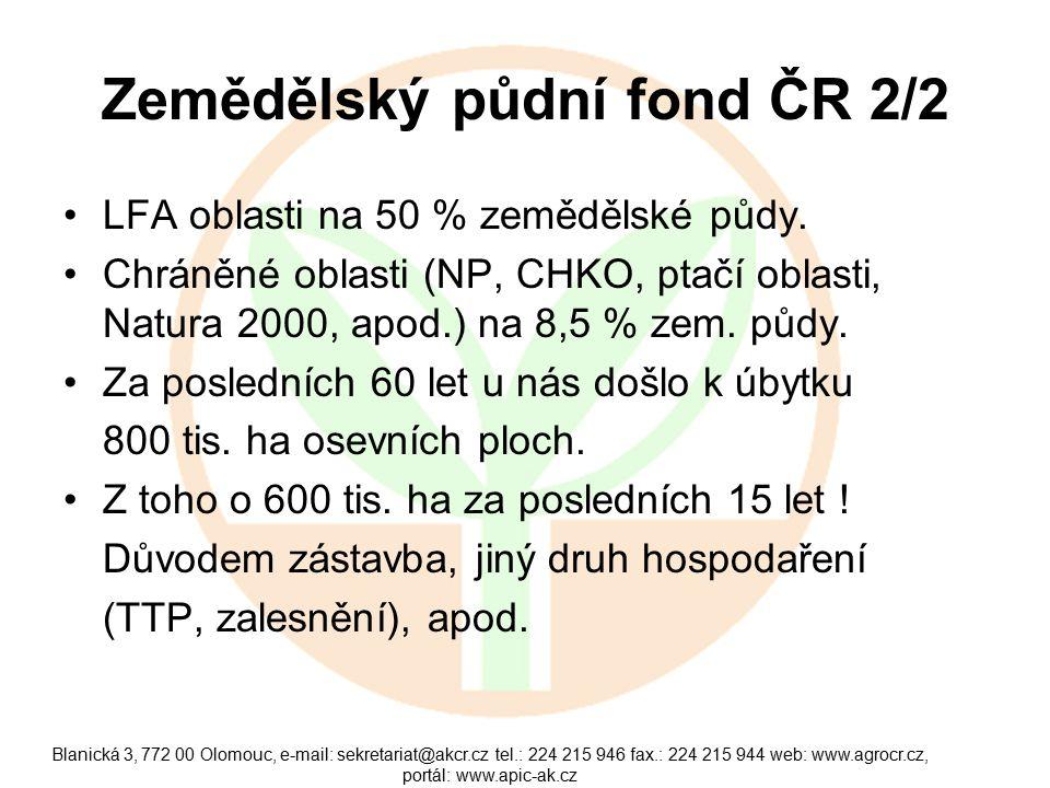 Blanická 3, 772 00 Olomouc, e-mail: sekretariat@akcr.cz tel.: 224 215 946 fax.: 224 215 944 web: www.agrocr.cz, portál: www.apic-ak.cz Zemědělský půdn
