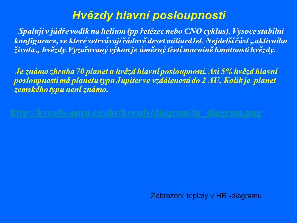 Hertzsprungův – Russellův diagram hvězdy v závislosti na absolutní hvězdné velikosti ( zářivém výkonu) a na spektrálním typu( na teplotě) ttp://www.al