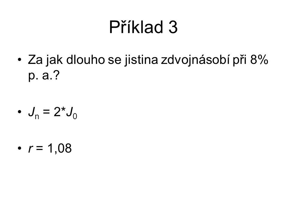 Příklad 3 Za jak dlouho se jistina zdvojnásobí při 8% p. a. J n = 2*J 0 r = 1,08