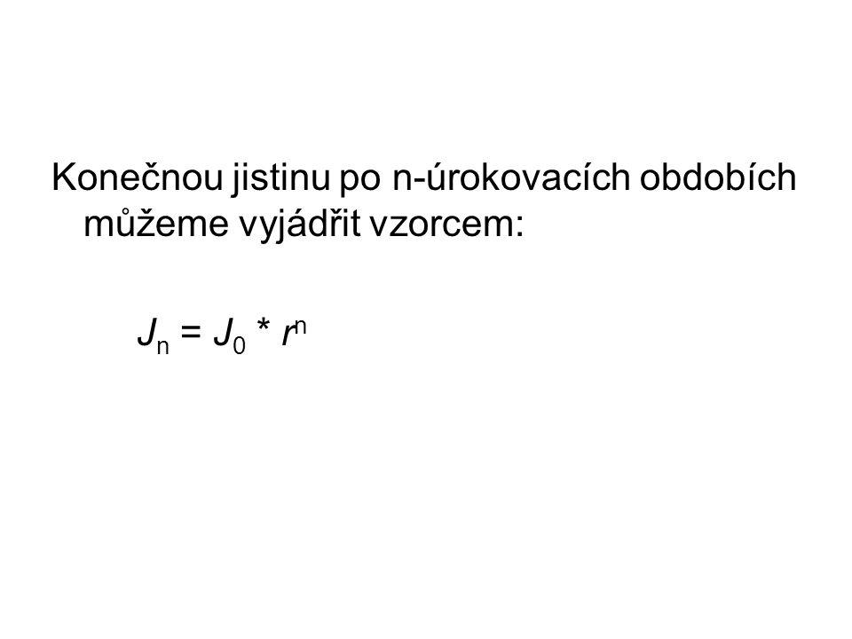 Konečnou jistinu po n-úrokovacích obdobích můžeme vyjádřit vzorcem: J n = J 0 * r n