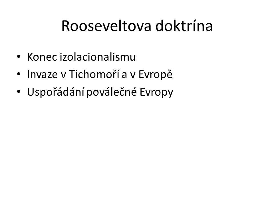 Rooseveltova doktrína Konec izolacionalismu Invaze v Tichomoří a v Evropě Uspořádání poválečné Evropy