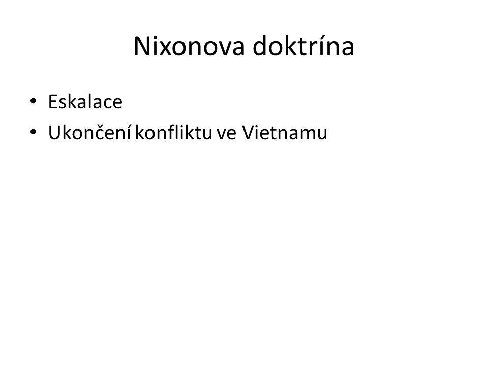 Nixonova doktrína Eskalace Ukončení konfliktu ve Vietnamu